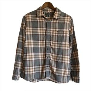 ROOTS Cozy Plaid Flannel Button Down Shirt Grey